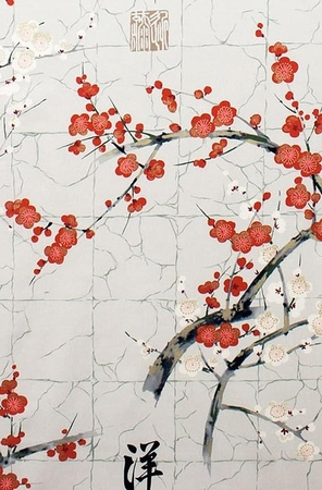 NEW! The Beauty of Cherry Blossoms: Silver Grey (1/2 Yd.)