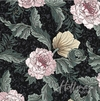 NEW! PEONIES by William Morris: Black (By the Half Yard)