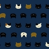 NEKO 2 by Quilt Gate: Kitten Faces - Navy Blue (1/2 Yd.)