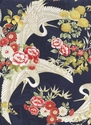 CRANES IN FLORAL GARDEN: Navy/Gold Metallic (1/2 Yd.)