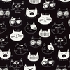 Cute Kitten Faces: Black/White in Cotton/Linen Canvas