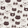 Cute Kitten Faces: White/Black in Cotton/Linen Canvas