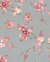 Delicate Plum Blossoms - Sakura Collection - Pewter Grey
