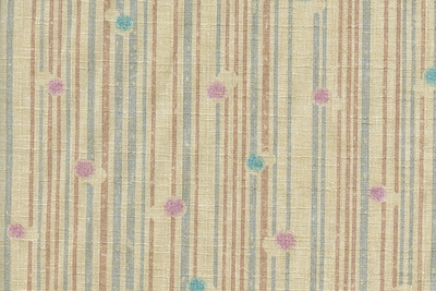 Dots and Stripes on Beige Light Weight Cotton Dobby