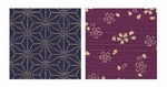 Double Sided Print: Purple Cherry Blossoms/Indigo Asanoha Leaves