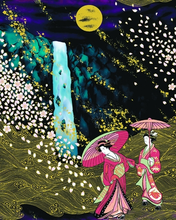 NEW!! Ethereal Geisha Landscape: Panel (22 Inches x 24 Inches)