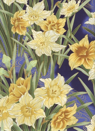 NARCISSUS IN THE SPRING Lemon Yellow, Purple, Gold Metallic (1/2 Yd.)