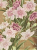 NARCISSUS IN THE SPRING: Blush Pink, Plum, Tan, Gold Metallic (1/2 Yd.)