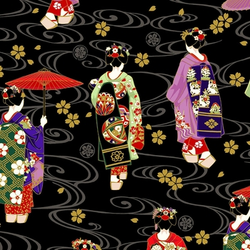GEISHA: Maiko Collection - Black (By the Half Yd)