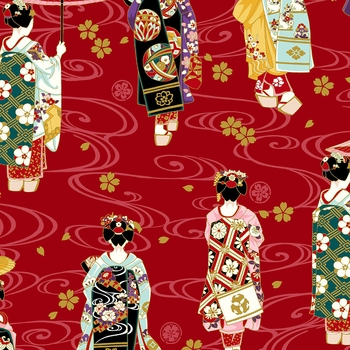 GEISHA: Maiko Collection - Red (By the Half Yd)
