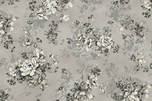 Gentle Flowers: Rose Clusters - Dove Gray