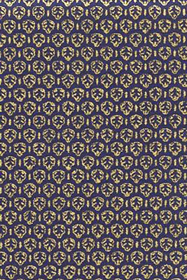 Gold Stamped Emblems on Navy Blue (1/2 Yd. Increments)
