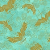 Golden Cranes: Teal/Gold Metallic
