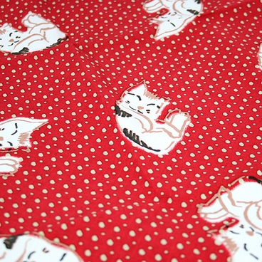 """Handkerchief with Adorable Cat and Dotted Design: Red  (12 1/2"""" Square)"""