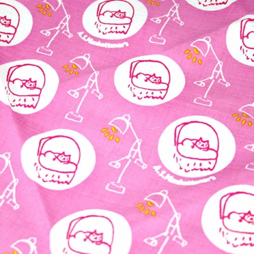 """Handkerchief with Adorable Cats: Pink (20"""" Square)"""