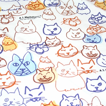 """Handkerchief with Adorable Cats: White (20"""" Square)"""