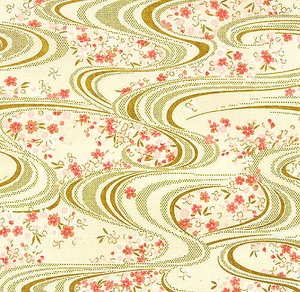 Floating Cherry Blossoms - 'Koi' HYAKKA RYORAN - Ivory/Gold Metallic