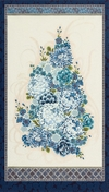 "IMPERIAL 13: Floral Bouquet Panel - Indigo (24"" x 44"")"