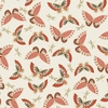 JAPANESE GARDEN: Butterflies & Dragonflies - Coral (By the Half Yd)