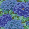 KAFFE FASSETT: Peonies in Cobalt Blue & Turquoise (1/2 Yd.)