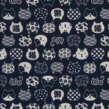 Kitty Design Faces: Indigo - Cotton Dobby