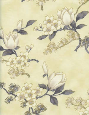 NEW!! Magnolias & Cherry Blossoms: Ivory/Gold Metallic (By the Half Yd)