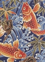 MAJESTIC KOI - Navy Asian Japanese Fabric (Per 1/2 Yd)