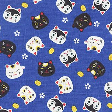 """Maneki Neko"" Good Luck Kittens: Blue – Cotton Dobby"