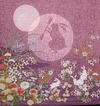 MOON RABBIT: 100% Rayon Chirimen Japanese Fabric Panel