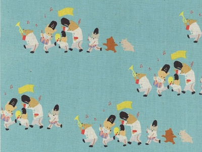 Musical Bear Parade: Turquoise - Cotton/Linen Canvas