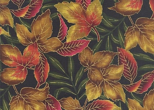 OUTDOOR SPLENDOR: Maple Leaves - Red/Gold Metallic