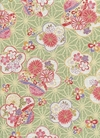 Patterned Cherry Blossoms: Cotton Dobby - Green