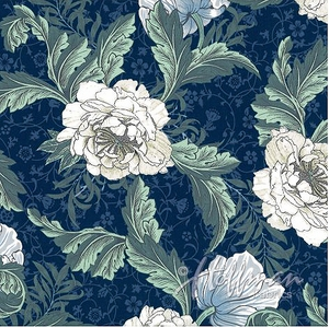 NEW!  PEONIES by William Morris: Royal Blue