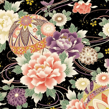 PEONIES: Maiko Collection - Black (By the Half Yard)