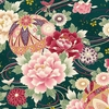 PEONIES: Maiko Collection - Green (By the Half Yard)