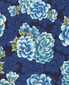 Peony Clusters: Blue/Silver Metallic (By the Half Yard)