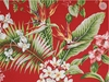 BARKCLOTH Red Tropical Upholstery Home Dec (BTY)