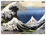 """The Great Wave"" - Black Panel -  24 Inches x 44 Inches"