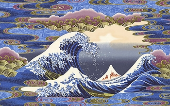 """""""The Great Wave"""" - Blue Panel -  24 Inches x 44 Inches"""