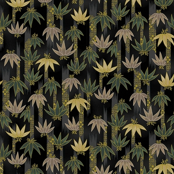 TORA COLLECTION: Black/Gold Bamboo Clusters (1/2 Yd.)