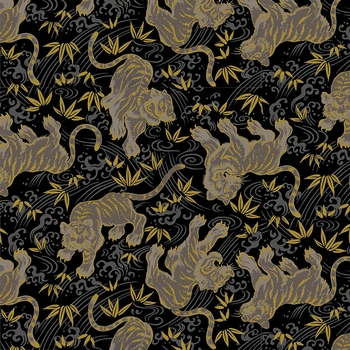 TORA COLLECTION: Black/Gold Tigers (1/2 Yd.)