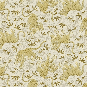 TORA COLLECTION: Cream/Gold Tigers