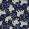 TORA COLLECTION: Navy Blue Tigers (1/2 Yd.)