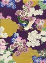 TORI COLLECTION: Birds in Garden Landscape - Purple/Silver Metallic (1/2 Yd.)