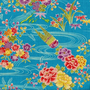 WATER GARDEN: Japanese Modern - Turquoise (By the Half Yd.)