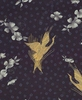 ZEN GARDEN: Gold Cranes in Silhouette: Black/Gold (1/2 Yd.)