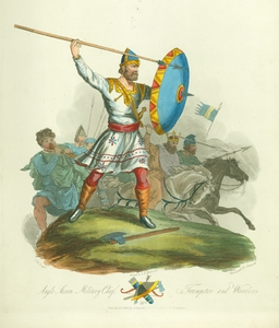 Anglo Saxon Military Chief, Trumpeter and Warriors, 975.