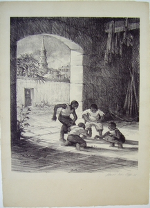 Boys playing jacks - Lithograph