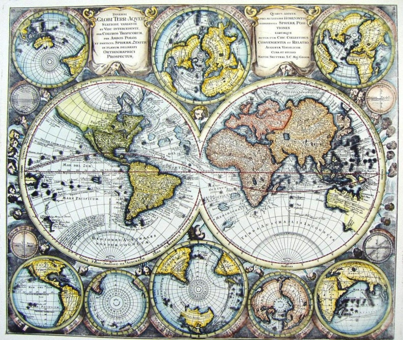 Decorative Prints of 17th Century World Maps on