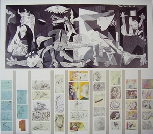 Guernica, Final painting facsimile and collection of the studies on paper.